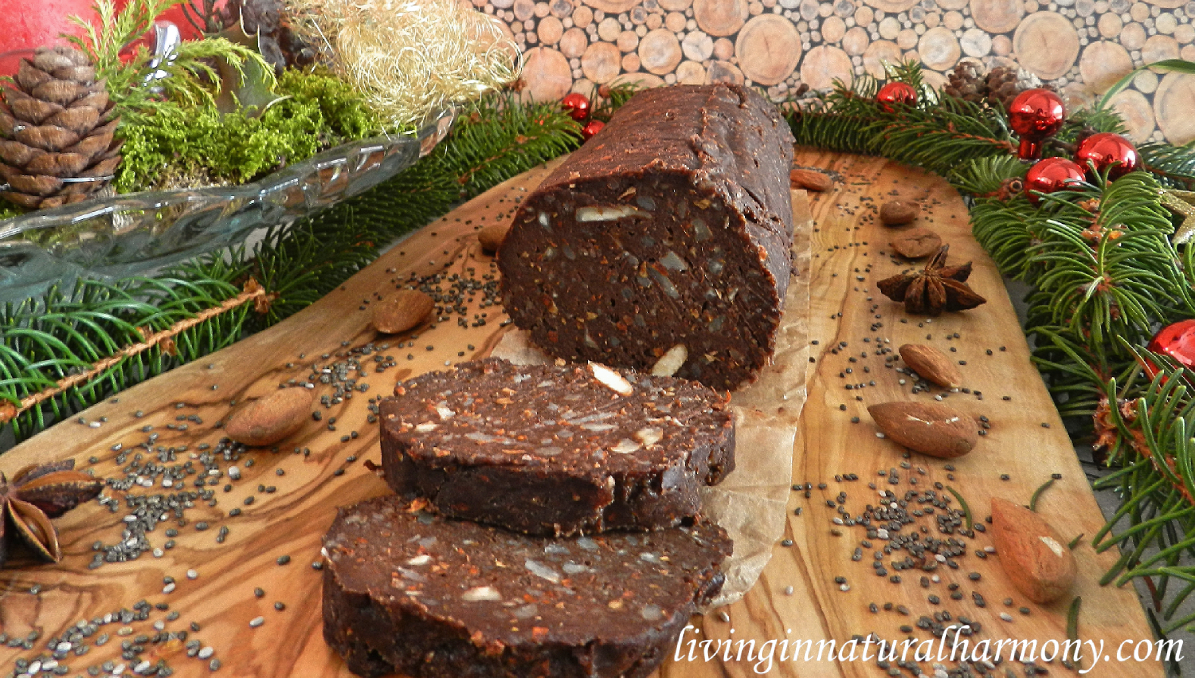Recipe: healthy chocolate salami (vegan, raw, sugar-free)